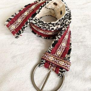 Accessories - Boho Mixed Tribal Print Fabric Canvas Back Belt